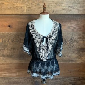 """NWOT """"Awake by DS"""" Black Lace & Crochet Top"""